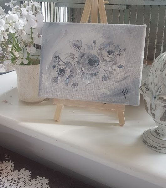 Tiny Grey Roses signed Painting on Canvas with Easel