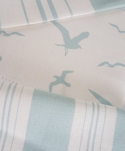 Seagulls in Turquoise on Ivory Linen Fabric