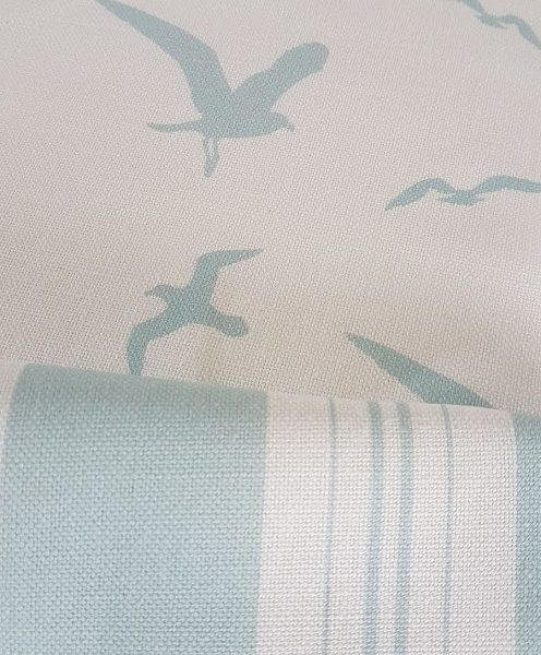 Turquoise Seagulls Linen Fabric
