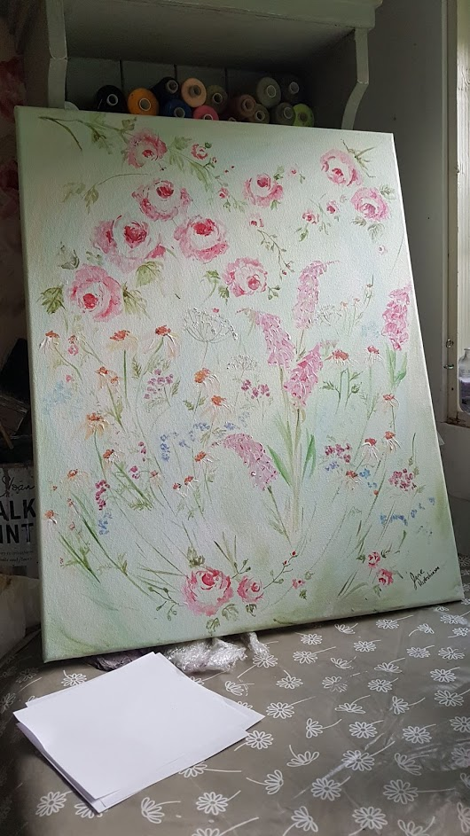 Wild Cottage Garden Flowers, Signed Original Acrylics Painting on Canvas