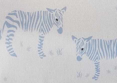Wonky Donkey Zebra Linen Fabric-Blue-Rose and Foxgloves