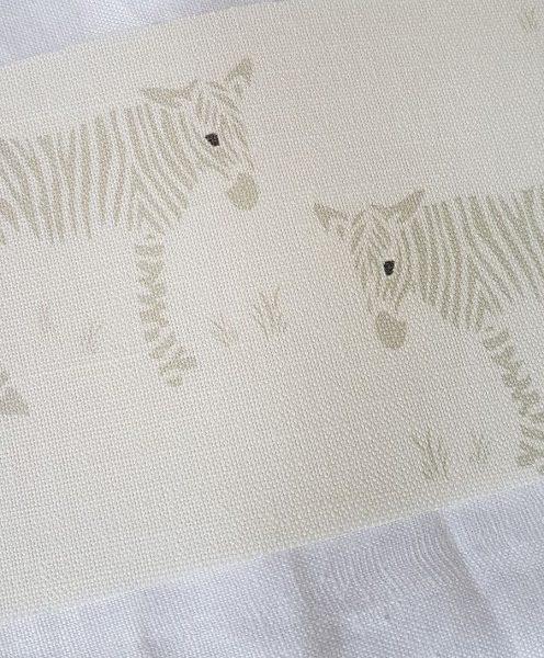 Wonky Donkey Grey on Ivory Linen Fabric