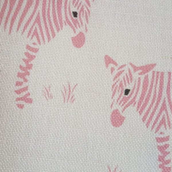 Wonky Donkey in Pink on Ivory Linen Fabric