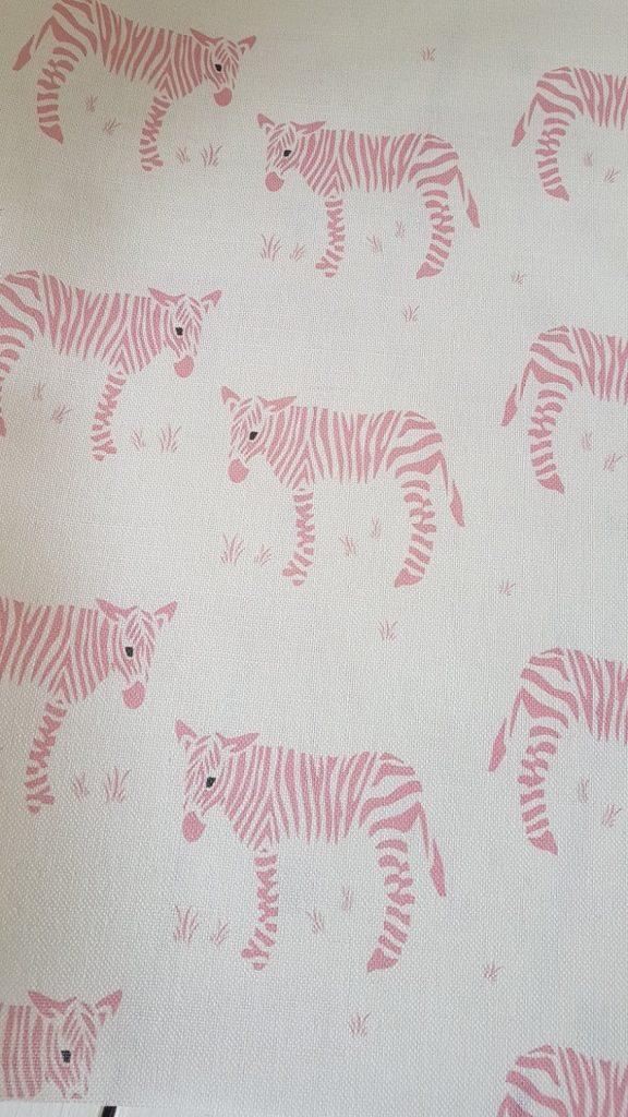 Wonky Donkey Zebra Linen Fabric-Pink Rose and Foxgloves