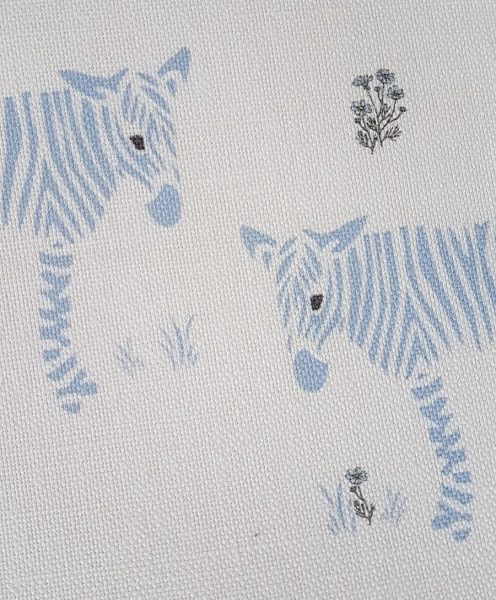 Wonky Donkey Zebra with flowers Linen Fabric-Blue-Rose and Foxgloves