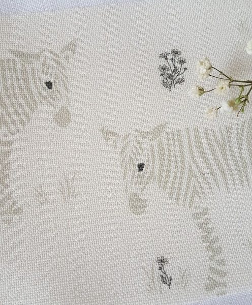Wonky Donkey Zebra with flowers Linen Fabric-Grey-Rose and Foxgloves