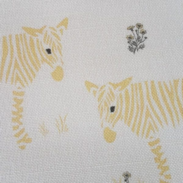 Wonky Donkey Zebra with flowers Linen Fabric-Yellow-Rose and Foxgloves