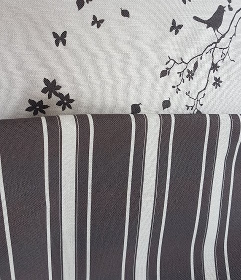 Black Grainsack striped Linen Fabric