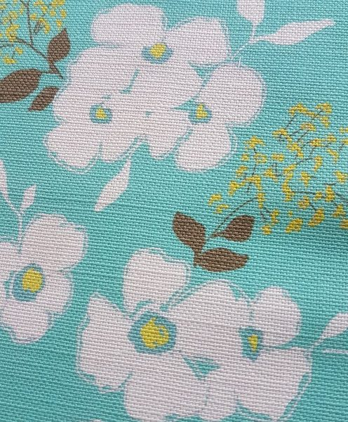 High Summer Floral in Turquoise and Lemon linen