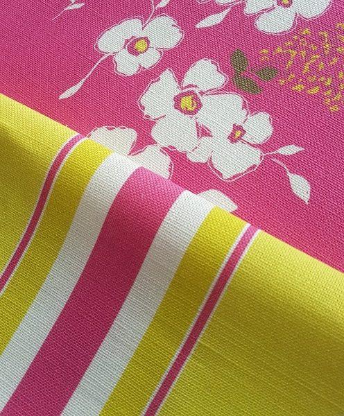 High Summer stripes cerise and lemon linen
