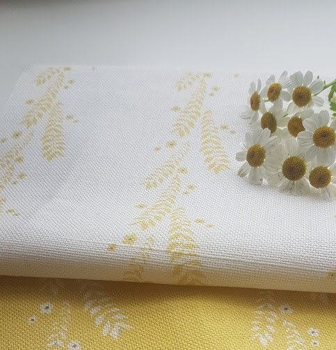 Leaf and Blossom Daffodil and Ink on Ivory Linen Fabric