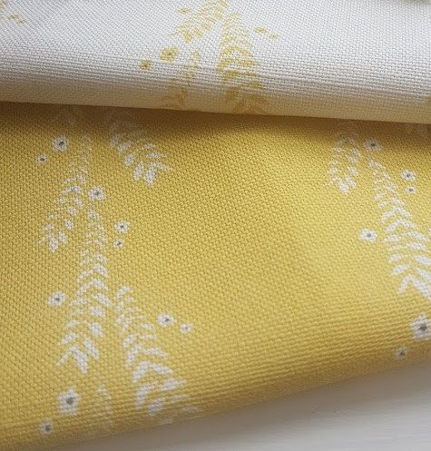 Leaf and Blossom Ivory and Ink on Daffodil Linen Fabric
