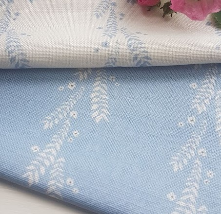 Leaf and Blossom Ivory and Ink on Sky Blue Linen Fabric