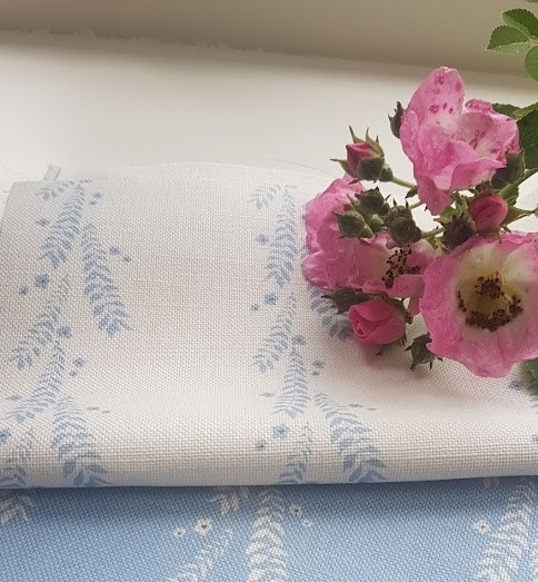 Leaf and Blossom Sky Blue and Ink on Ivory Linen Fabric