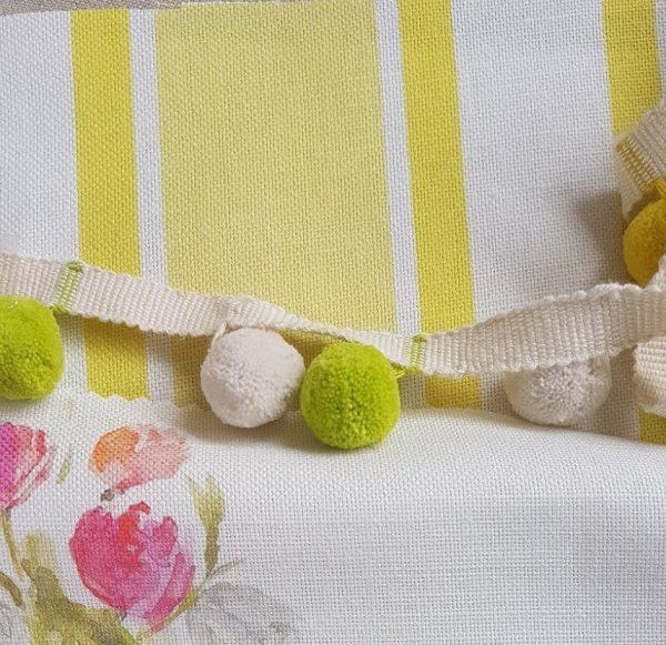 Lemon Grainsack stripes Linen Fabric