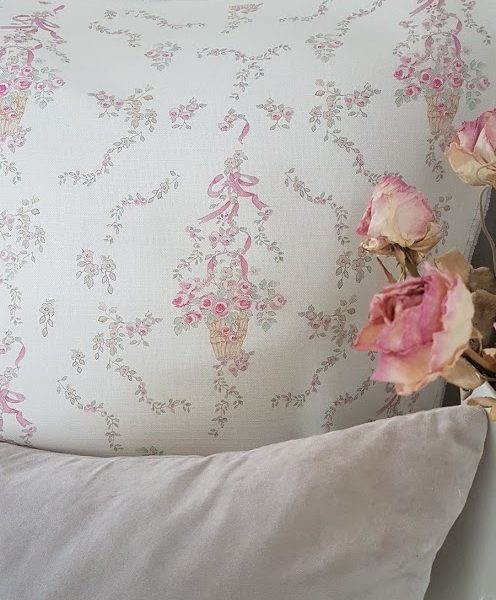Posy Basket Colour French Vintage Floral Design Linen Fabric