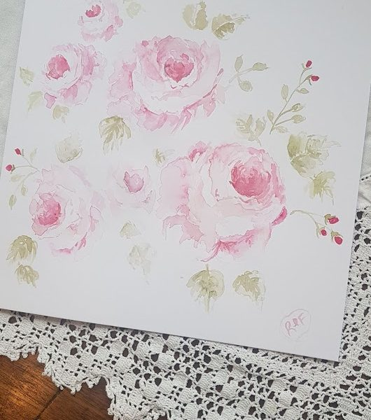 Rose like no other. Original signed watercolour card with envelope by Rose and Foxgloves ©