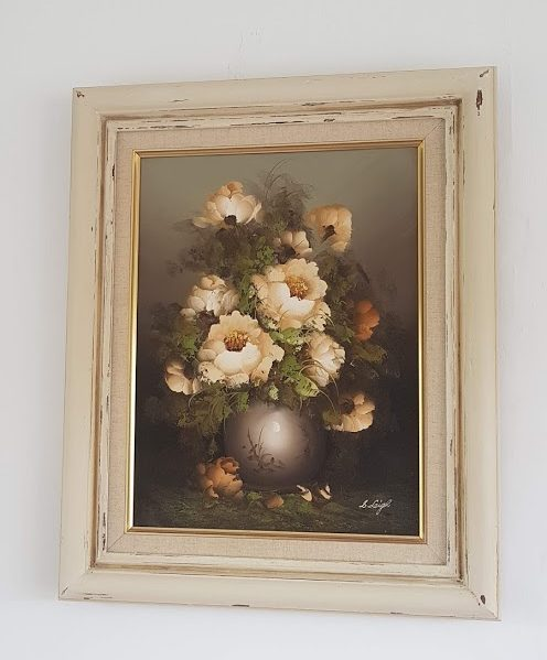 Soft Cream Roses Signed and Framed Vintage Oil Painting