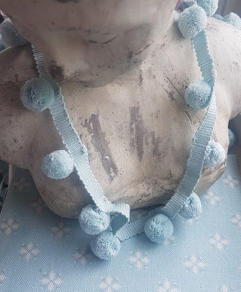 Soft Teal Blue Cotton Handloomed Pom Pom Trimming