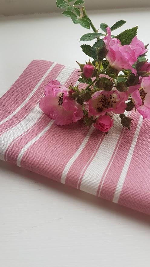 Old Raspberry Grainsack striped Linen Fabric