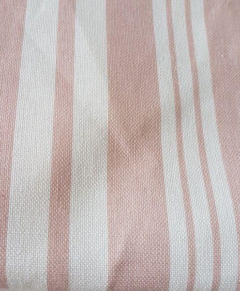 Victorian Rose Posy Grainsack Stripe Linen Fabric