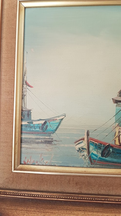 Vintage Coastal Signed Oil Paintings sailing boats in Harbour
