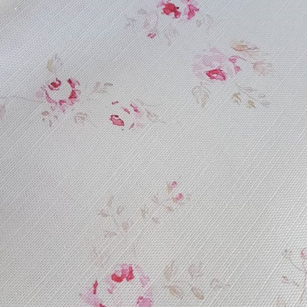 French Faded Roses Vintage inspired Linen Fabric