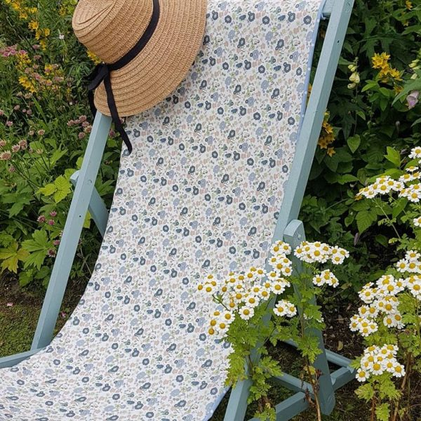 Wild Meadow Daisies Vintage Linen on deckchair by rose and foxgloves
