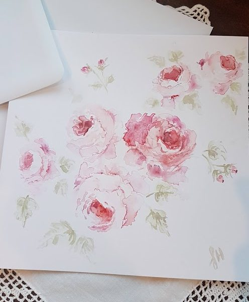 August Roses watercolour original painted card by Rose and Foxgloves