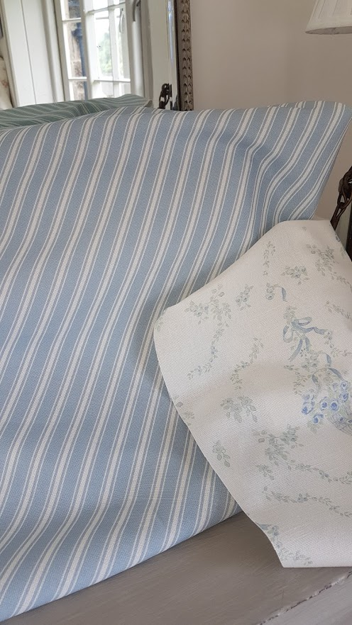 Country Blue and Ivory Ticking Stripe Vintage Linen Fabric