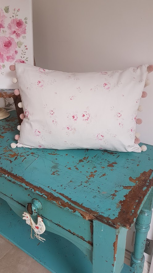 Faded French Roses Linen Cushion with Luxury Pompoms by Rose and Foxgloves