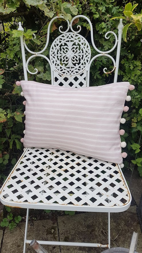 Dusky Rose Linen Ticking Stripe Cushion by Rose and Foxgloves
