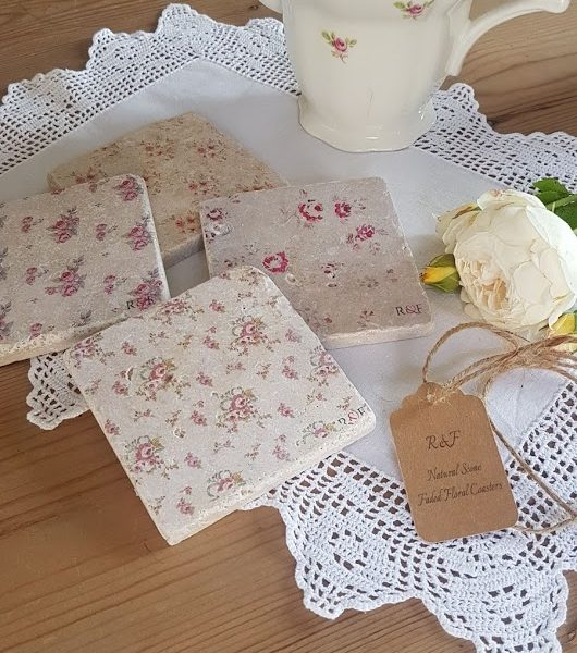 Faded Floral Natural stone coasters by Rose & Foxgloves