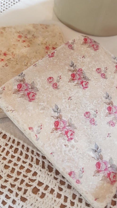 Faded Floral Natural stone coasters by Rose & Foxgloves-ditsy roses