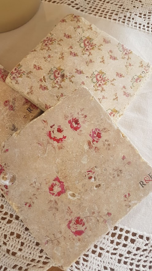 Faded Floral Natural stone coasters by Rose & Foxgloves- french faded roses