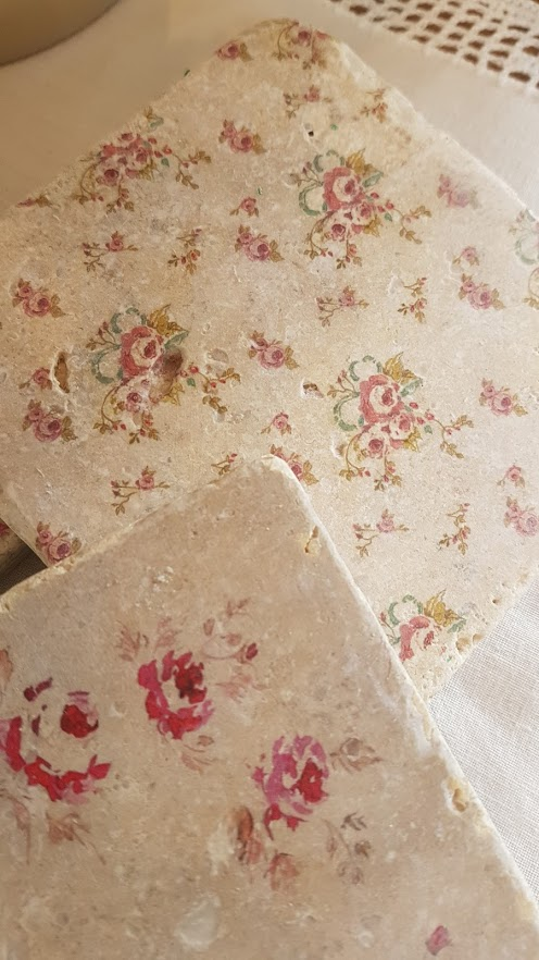 Faded Floral Natural stone coasters by Rose & Foxgloves victorian posy
