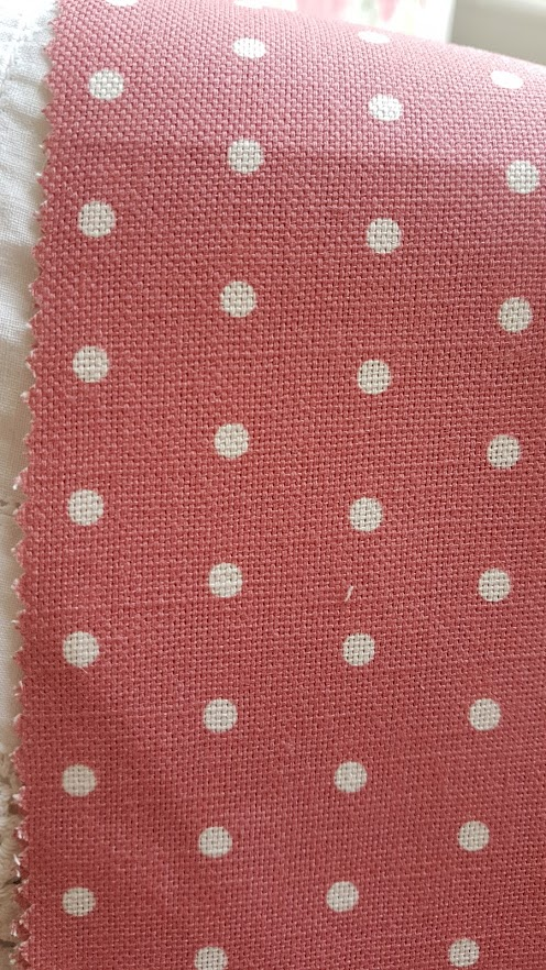 Ivory Polka Dots on Berry Linen Country Garden Collection by Rose and Foxgloves