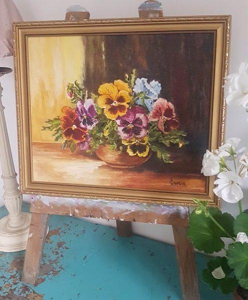 Pansies Vintage Framed oil painting