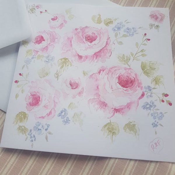 Pink Cabbage Roses Original signed watercolour card with envelope by Rose and Foxgloves