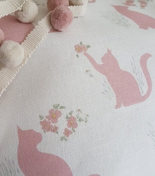 Playful Cats in Pink linen fabric