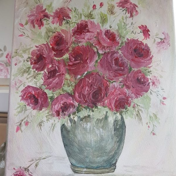 Pot full of Roses Signed Painting by Rose and Foxgloves