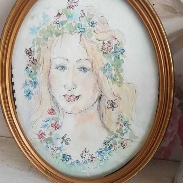Pretty Vintage Young Girl Portrait Painting with flowers in an Oval frame rose and foxgloves-1