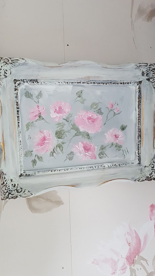 Pretty Little Roses Framed Original Signed Acrylic Painting