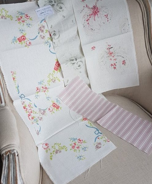 RF13-8-2 scrap bundle of floral linen fabrics by rose and foxgloves