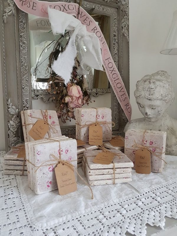 Rose and Foxgloves Natural Travertine Faded Floral Coasters