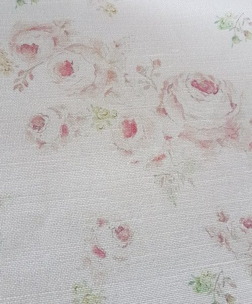Roses by The Brook Old Pink Style Linen Fabric