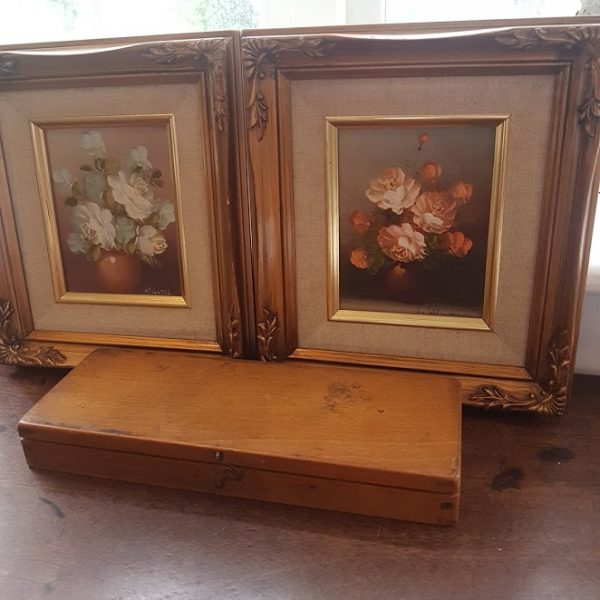 Pair Vintage Floral Roses Signed Oil Paintings in Ornate Frames 19x21cm