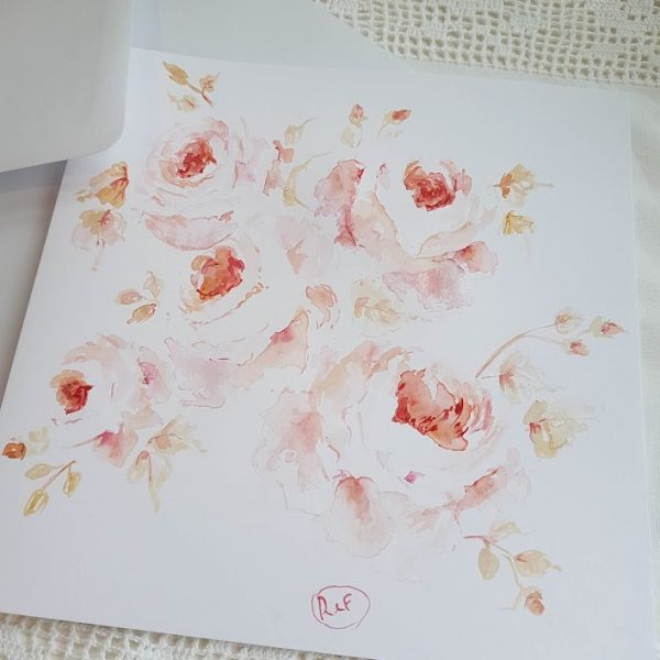 Autumn Roses Original signed watercolour card with envelope