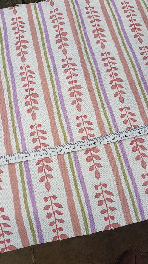 Autumn leaf and handdrawn stripes Floral linen fabric by rose and foxgloves
