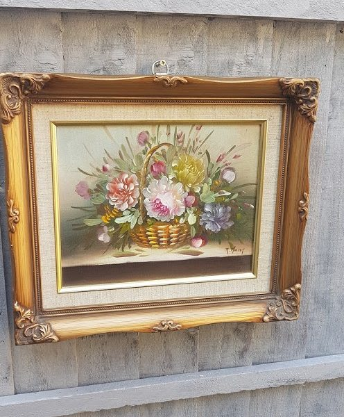 Basket of Roses Oil Painting in Ornate Gold Frame signed R Maley